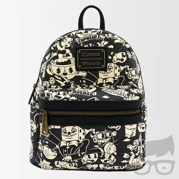 Loungefly x Cuphead Black & White Faux Leather Mini Backpack
