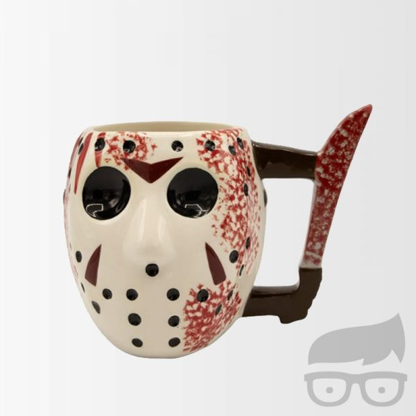 Friday the 13th Jason Voorhees Mask with Knife Ceramic 3D Sculpted Mug Taza