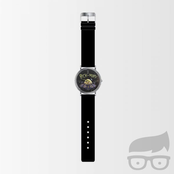 Rick and Morty Black Leather Strap Watch Games Geeks